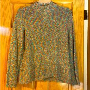 Multi color zip sweater - XL